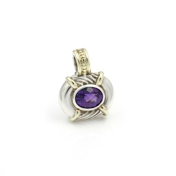 DAVID YURMAN STERLING SILVER AND 14K GOLD CABLE PENDANT ENHANCER AMETHYST #D12-4