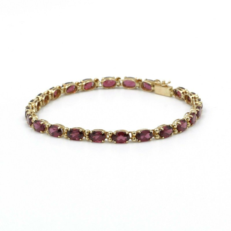 "National Rarities 14K YELLOW GOLD 11.5 CTW RHODOLITE GARNET TENNIS BRACELET SZ 7"" #1004B-5"