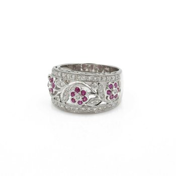18K WHITE GOLD LEVIAN 1 CWT DIAMOND AND RUBY FLORAL BAND RING SIZE 7 #J823-4