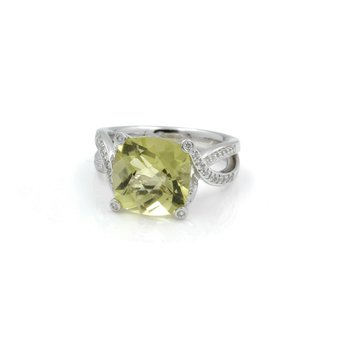 14K GOLD 5.40 CT LEMON QUARTZ CHECKERBOARD  & .24 CTW DIAMOND RING NO RES #J3-3