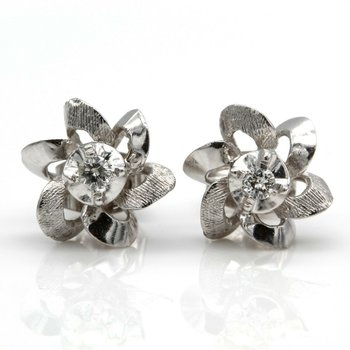 14K WHITE GOLD AND 0.08 CTW ROUND BRILLIANT VINTAGE DIAMOND STUD EARRINGS JB75-7