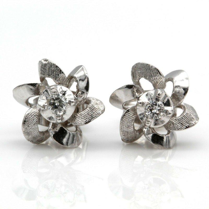 National Rarities 14K WHITE GOLD AND 0.08 CTW ROUND BRILLIANT VINTAGE DIAMOND STUD EARRINGS JB75-7