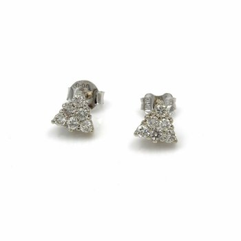 14K RADIANT WHITE GOLD AND .36 CTW DIAMOND PYRAMID STUD EARRINGS #968B-9