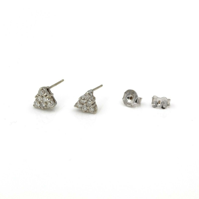 Unbranded 14K RADIANT WHITE GOLD AND .36 CTW DIAMOND PYRAMID STUD EARRINGS #968B-9
