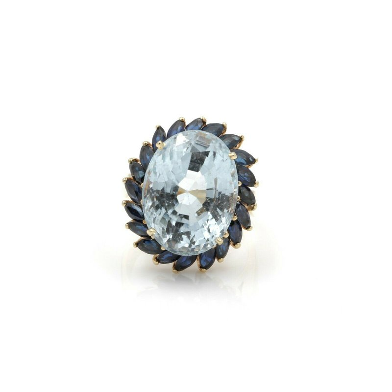 National Rarities 14K GOLD OVAL BLUE TOPAZ COCKTAIL RING W/ MARQUISE SAPPHIRES 17.13 CTW FINE J1-6