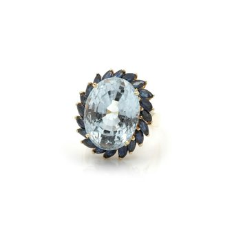 14K GOLD OVAL BLUE TOPAZ COCKTAIL RING W/ MARQUISE SAPPHIRES 17.13 CTW FINE J1-6