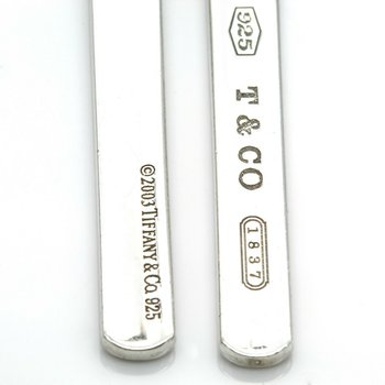 TIFFANY & CO 1837 STERLING SILVER 48 MM X 5 MM BAR DROP EARRINGS #1019B-5