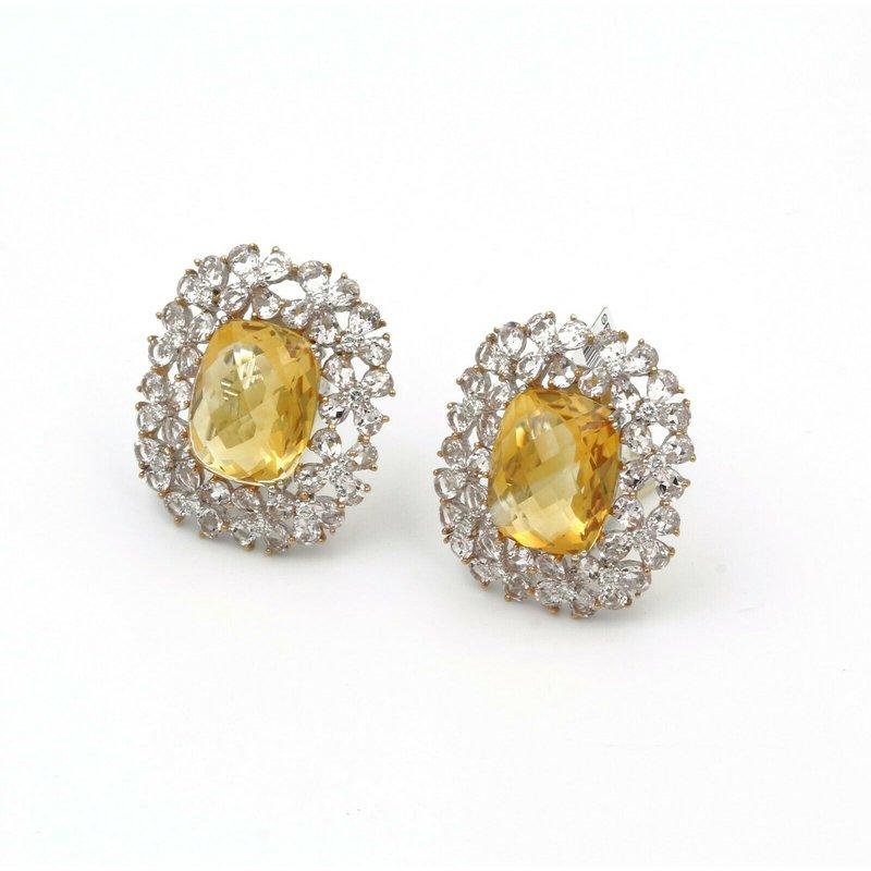 National Rarities 18K WHITE GOLD 42.80 CTW CHECKERBOARD TOPAZ MORGANITE & DIAMOND EARRINGS #E-212