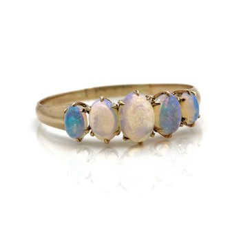 VINTAGE STUNNING 10K YELLOW GOLD 0.84 OVAL CABOCHON OPAL RING SIZE 8 #JB63-2