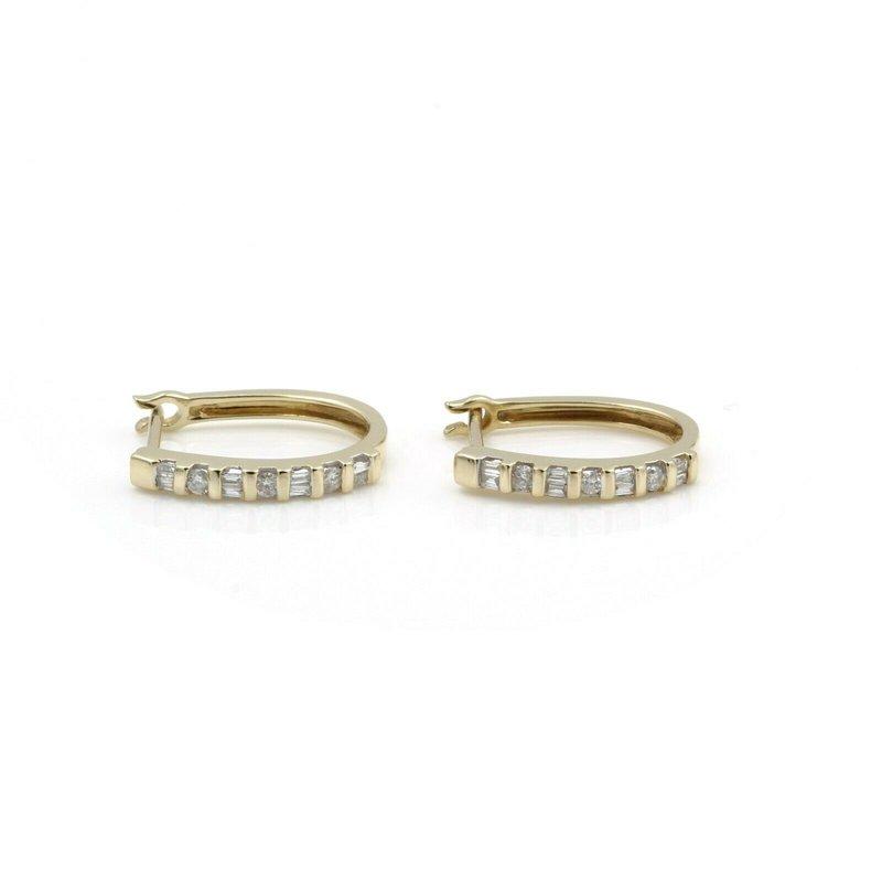 National Rarities 14K YELLOW GOLD .17 CTW ROUND BAGUETTE DIAMOND PETITE HUGGIE EARRINGS #JB46-2