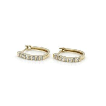 14K YELLOW GOLD .17 CTW ROUND BAGUETTE DIAMOND PETITE HUGGIE EARRINGS #JB46-2