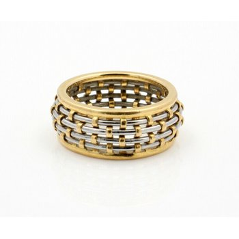 CARTIER 18K SOLID GOLD STEEL BASKET WEAVE DOME 8.7MM BAND SIZE 6.75 #D20-8