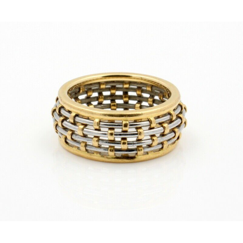 Cartier CARTIER 18K SOLID GOLD STEEL BASKET WEAVE DOME 8.7MM BAND SIZE 6.75 #D20-8