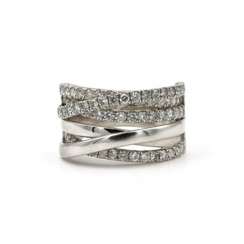 STUNNING 14K WHITE GOLD 2.00 CTW DIAMOND OVERLAPPING RING SIZE 7.5 #848B-1