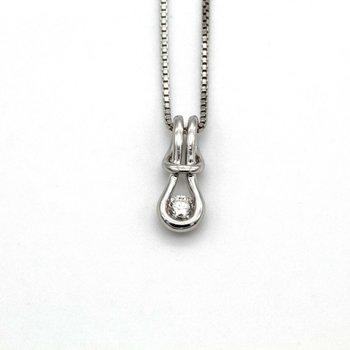 EVERLON DIAMOND LOVE KNOT NECKLACE STERLING SILVER CHAIN PENDANT CTW 0.15 FINE