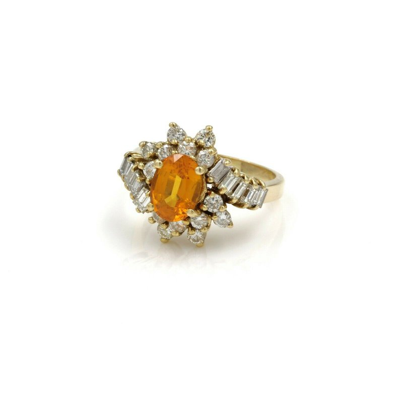 National Rarities 18K GOLD 2.42 CTW ORANGE/YELLOW SAPPHIRE & DIAMOND CLUSTER RING SIZE 5 #E-297
