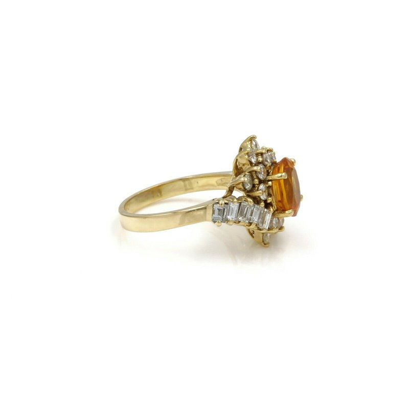 National Rarities 18K GOLD 2.42 CTW ORANGE/YELLOW SAPPHIRE & DIAMOND CLUSTER RING SIZE 5 #E-297
