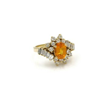 18K GOLD 2.42 CTW ORANGE/YELLOW SAPPHIRE & DIAMOND CLUSTER RING SIZE 5 #E-297