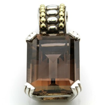 LAGOS STERLING SILVER 18K YELLOW GOLD CAVIER PRISM SMOKY QUARTZ ENHANCER #D9-6