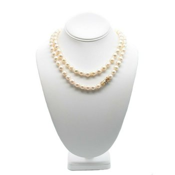 ELEGANT BAROQUE PEARL NECKLACE WITH 14K YELLOW GOLD DIAMOND CLASP #J451-2