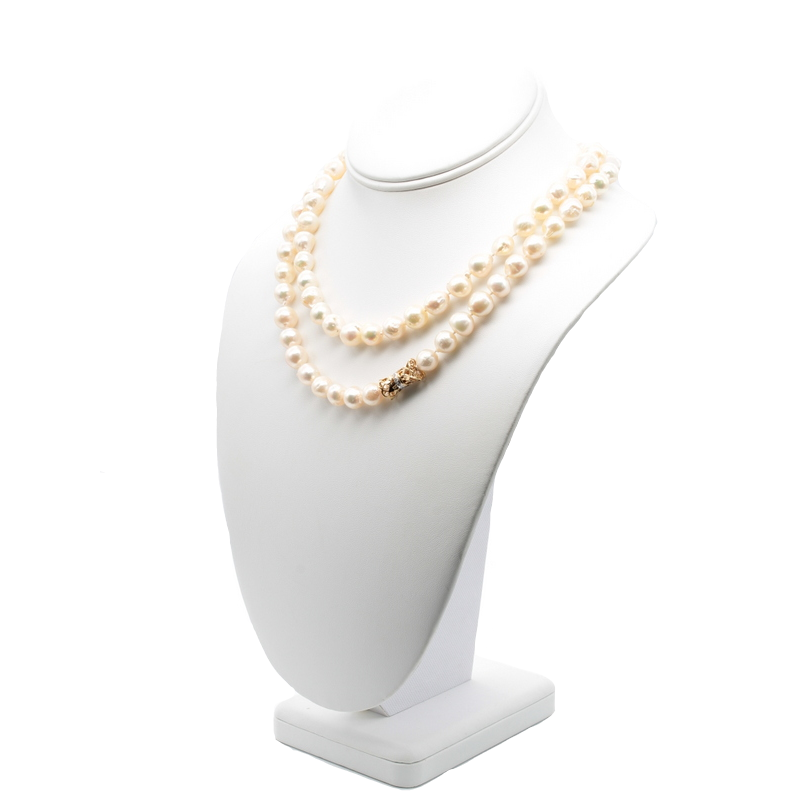 National Rarities ELEGANT BAROQUE PEARL NECKLACE WITH 14K YELLOW GOLD DIAMOND CLASP #J451-2