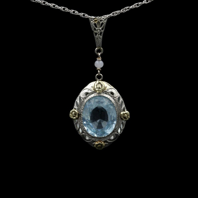 National Rarities VINTAGE 14K GOLD TWO-TONE OVAL AQUAMARINE FILIGREE FRAMED PENDANT, 4.0 CT E-90