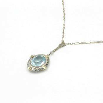VINTAGE 14K GOLD TWO-TONE OVAL AQUAMARINE FILIGREE FRAMED PENDANT, 4.0 CT E-90