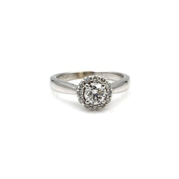 14K WHITE GOLD 0.65 CT DIAMOND CENTER W/ 0.26 CTW HALO ENGAGEMENT RING #964B-9