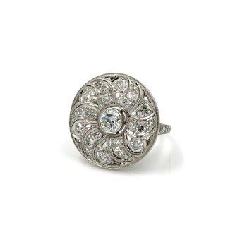 VINTAGE ESTATE PLATINUM 2.06 CTW WHITE DIAMOND FLORAL DISK RING UNIQUE E-284