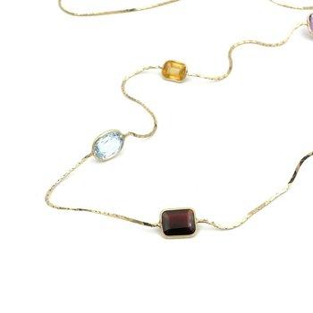 14K GOLD AMETHYST GARNET CITRINE SMOKY QUARTZ & BLUE TOPAZ NECKLACE #979B-10
