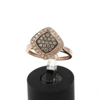 10K ROSE GOLD .55 CTW ROUND CHAMPAGNE & WHITE DIAMOND RING SIZE 6.75 #JB46-10
