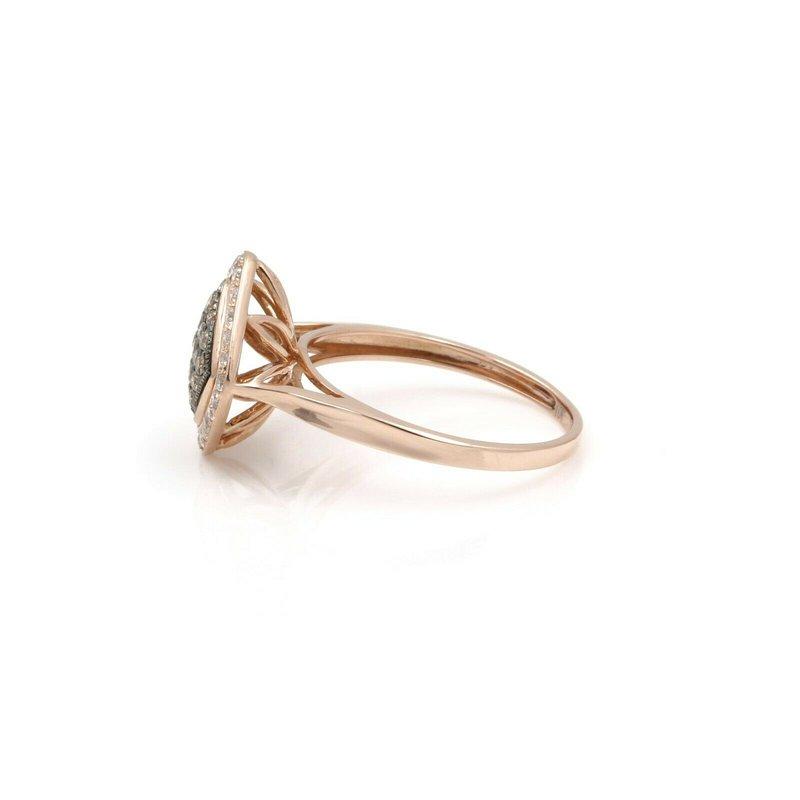 National Rarities 10K ROSE GOLD .55 CTW ROUND CHAMPAGNE & WHITE DIAMOND RING SIZE 6.75 #JB46-10