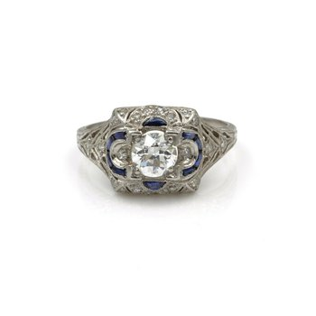 PLATINUM VINTAGE .93CTW DIAMOND & SAPPHIRE FILIGREE ART DECO RING SIZE 6.5 E-210