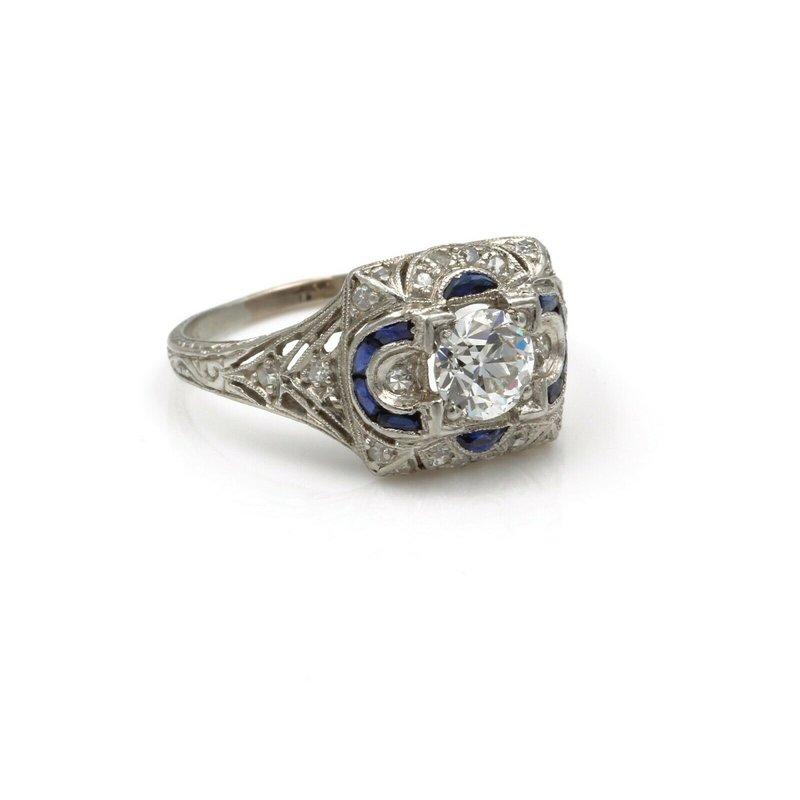 National Rarities PLATINUM VINTAGE .93CTW DIAMOND & SAPPHIRE FILIGREE ART DECO RING SIZE 6.5 E-210