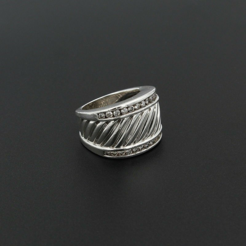 David Yurman DAVID YURMAN STERLING SILVER AND 0.72 CTW DIAMOND CABLE RING SIZE 4.5 #980B-7