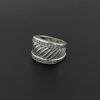 DAVID YURMAN STERLING SILVER AND 0.72 CTW DIAMOND CABLE RING SIZE 4.5 #980B-7
