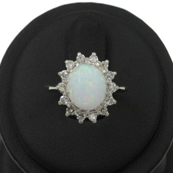14K WHITE GOLD CRYSTAL OPAL CABOCHON SINGLE CUT DIAMOND HALO RING SIZE 7 E-288