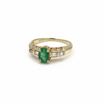 18K YELLOW GOLD NATURAL OVAL EMERALD WITH DIAMOND ACCENTS COCKTAIL RING #1035B-3