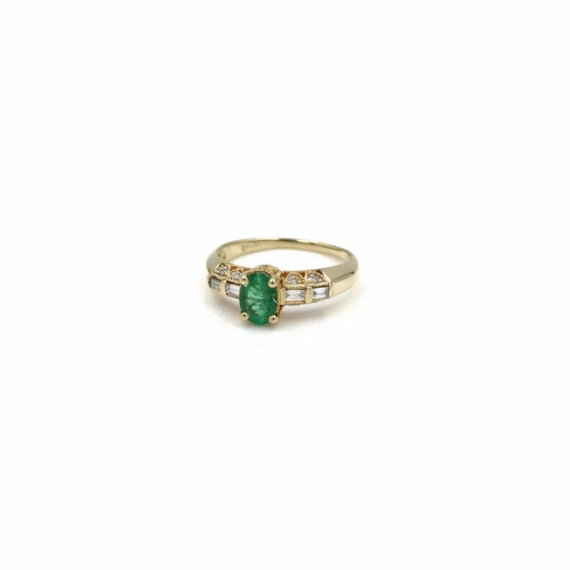 Emerald 18K YELLOW GOLD NATURAL OVAL EMERALD WITH DIAMOND ACCENTS COCKTAIL RING #1035B-3