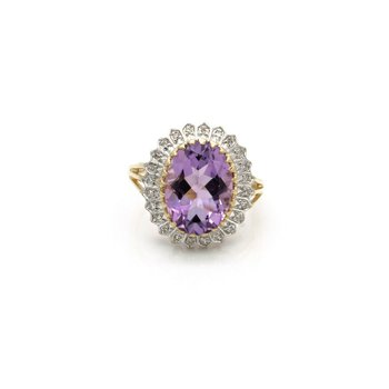 14k GOLD RING w/ AMETHYST MAIN STONE AND .17 CTW DIAMOND ACCENTS NO RESV J6-2