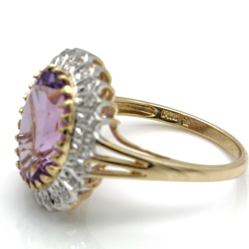 Amethyst 14k GOLD RING w/ AMETHYST MAIN STONE AND .17 CTW DIAMOND ACCENTS NO RESV J6-2
