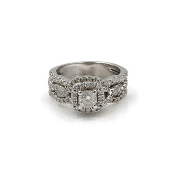 14K WHITE GOLD 1.50CTW DIAMOND CONTOURED TRIPLE BAND WEDDING RING SET #1085B-4