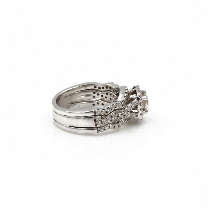 National Rarities 14K WHITE GOLD 1.50CTW DIAMOND CONTOURED TRIPLE BAND WEDDING RING SET #1085B-4