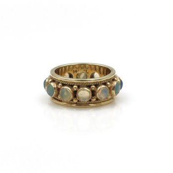 VINTAGE 14K GOLD & 12 ROUND CABOCHON OPAL ETERNITY RING / BAND, 1.20 CTW E-103