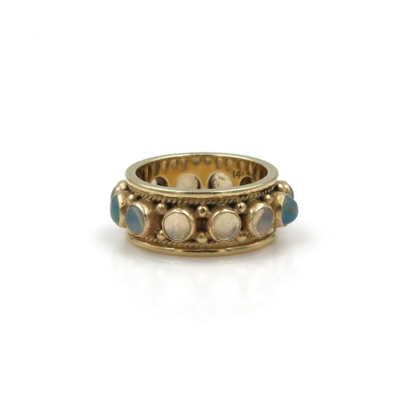 National Rarities VINTAGE 14K GOLD & 12 ROUND CABOCHON OPAL ETERNITY RING / BAND, 1.20 CTW E-103