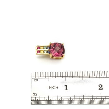 18K GOLD PENDANT W/ NATURAL CHECKERBOARD TOURMALINE, SAPPHIRE, RUBY BIN #1021B-4