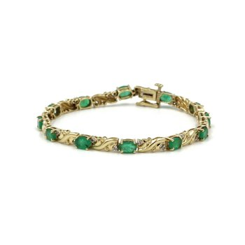 "14K GOLD 4.33 CTW NATURAL OVAL EMERALD DIAMOND ACCENT LINE BRACELET 7"" #999B-3"