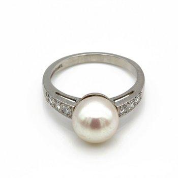 PLATINUM CULTURED AKOYA PEARL SINGLE CUT DIAMOND SHOULDERED RING SIZE 6.5 JB77-7