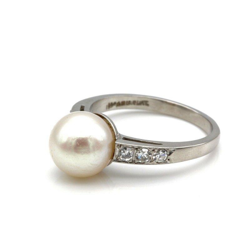 National Rarities PLATINUM CULTURED AKOYA PEARL SINGLE CUT DIAMOND SHOULDERED RING SIZE 6.5 JB77-7