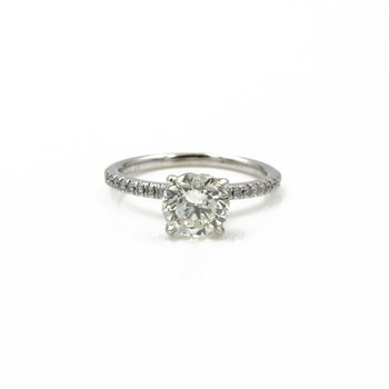 14K WHITE GOLD ROUND BRILLIANT DIAMOND RING GIA CERTIFIED 1.64 CTW SZ 5 1081B-9